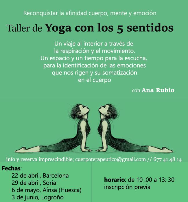 Taller Yoga con los 5 sentidos fechas